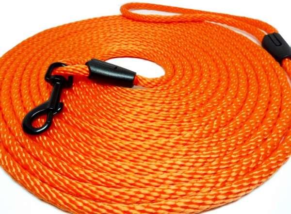 Hochwertige runde Katzenleine / Schleppleine 5 oder 10 Meter Länge neon orange