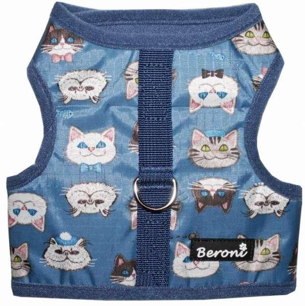 katzengeschirr katzenweste blau große katzen klett