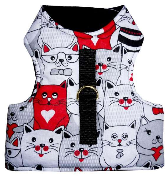 Cat Walking Jacket Katzengeschirr NO ESCAPE ausbruchsicher mit Katzenmotiven