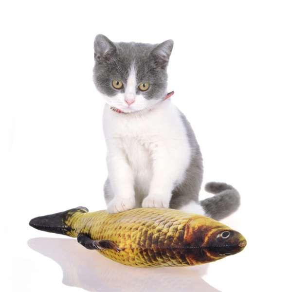 Fisch Katzenspielzeug real 3D mit nachfüllbarer Katzenminze